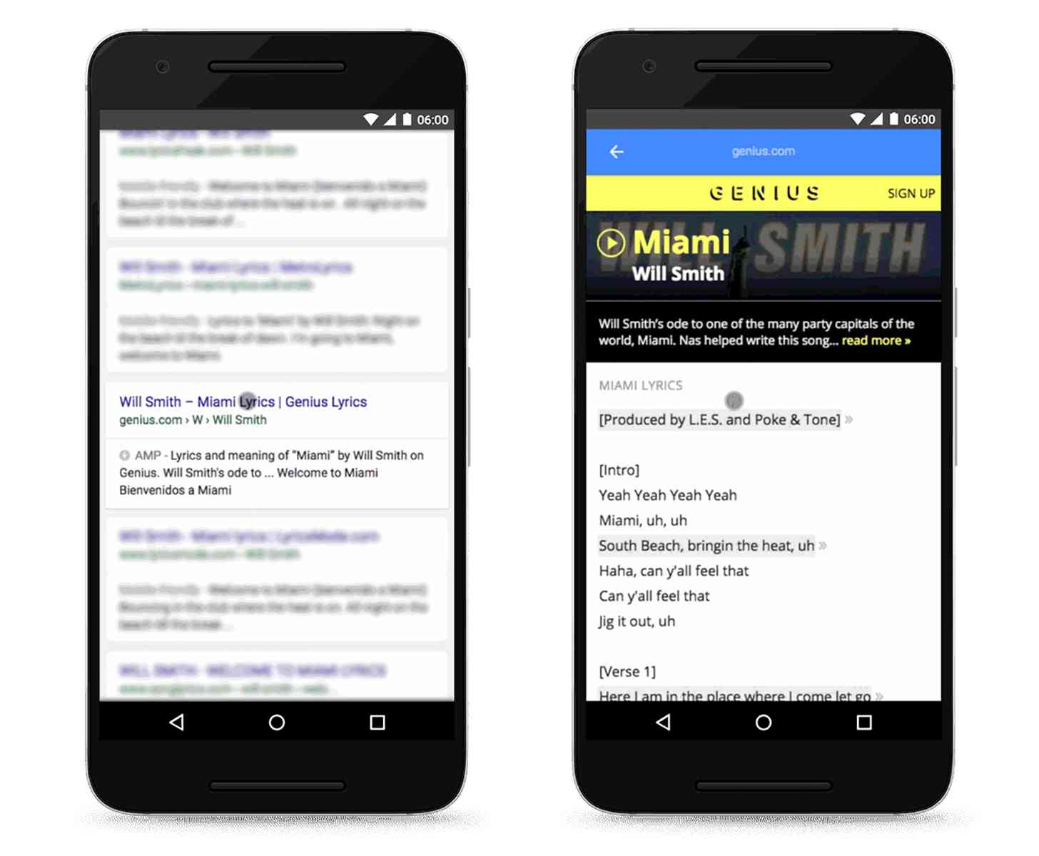 Google AMP mobile search results