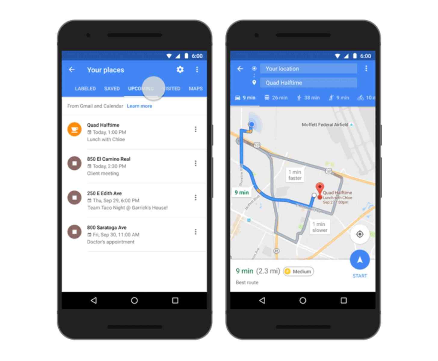 Google Maps Calendar integration