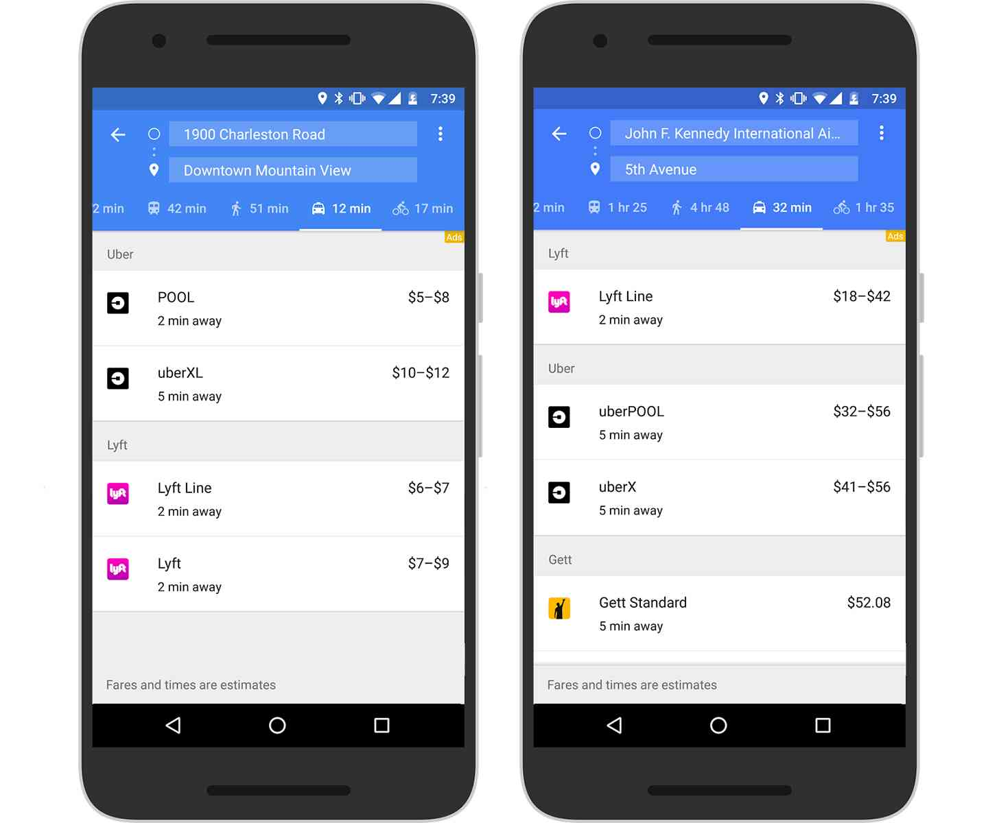 Google Maps ride-sharing services tab Lyft, Gett