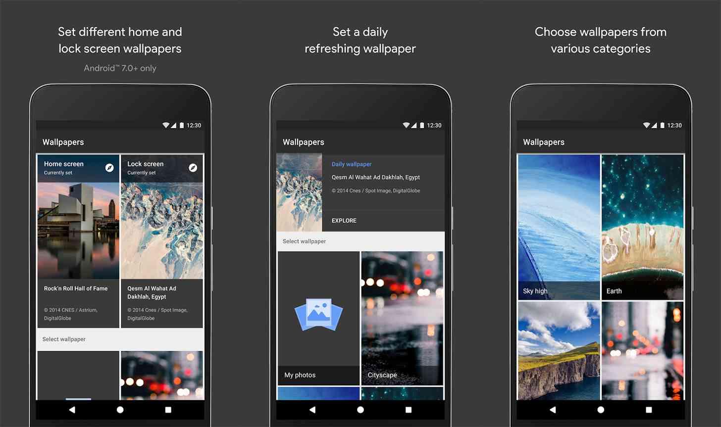 Google Wallpapers Android app screenshots