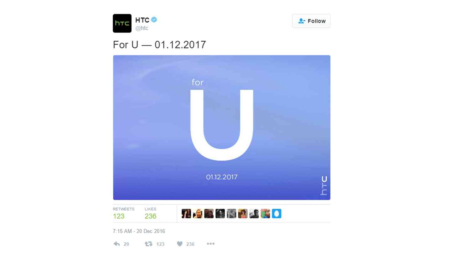 HTC For U tweet