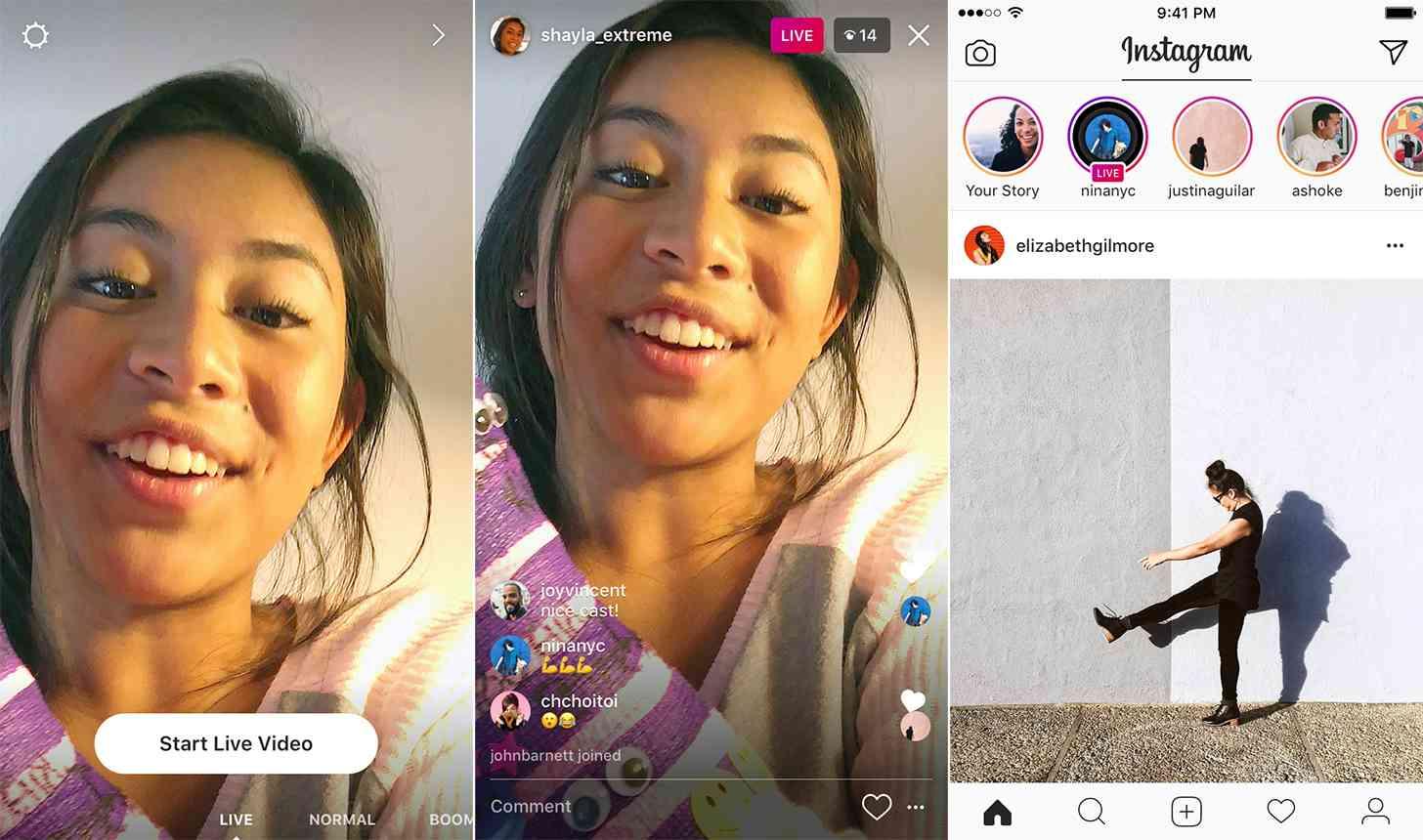 Instagram live video streaming