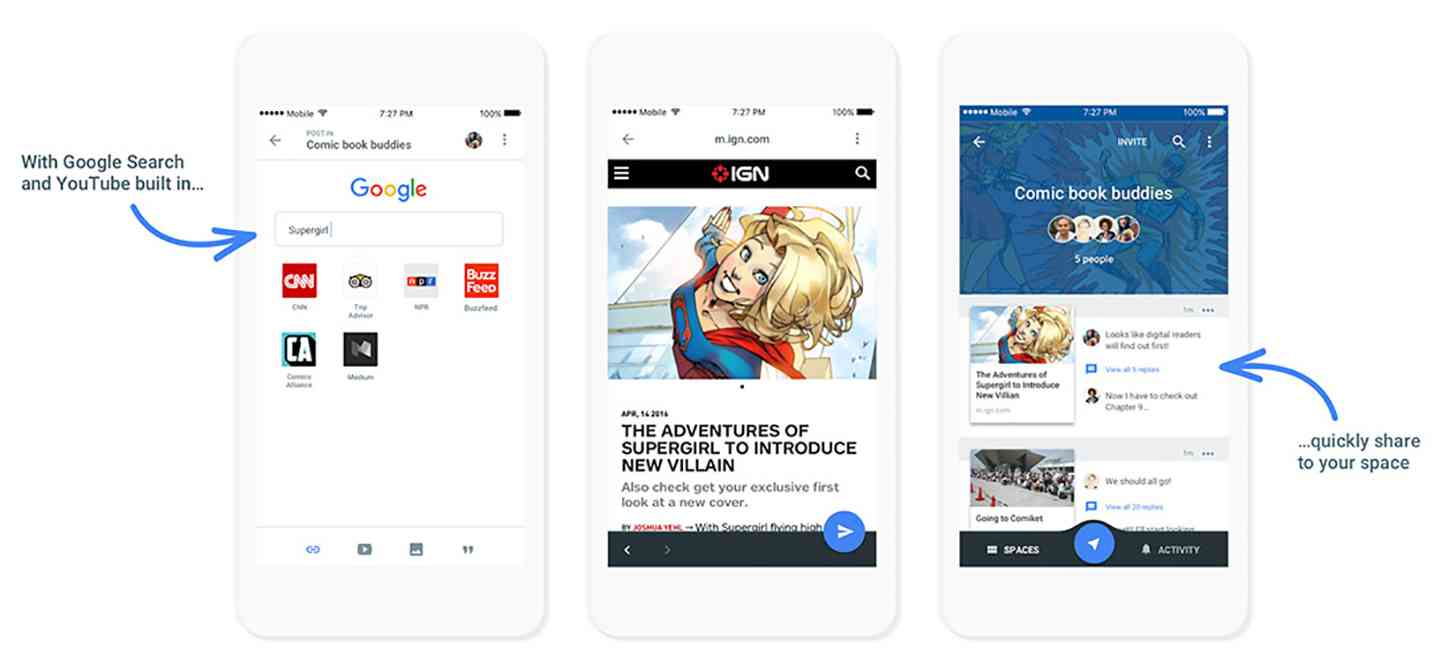 Google Spaces app features