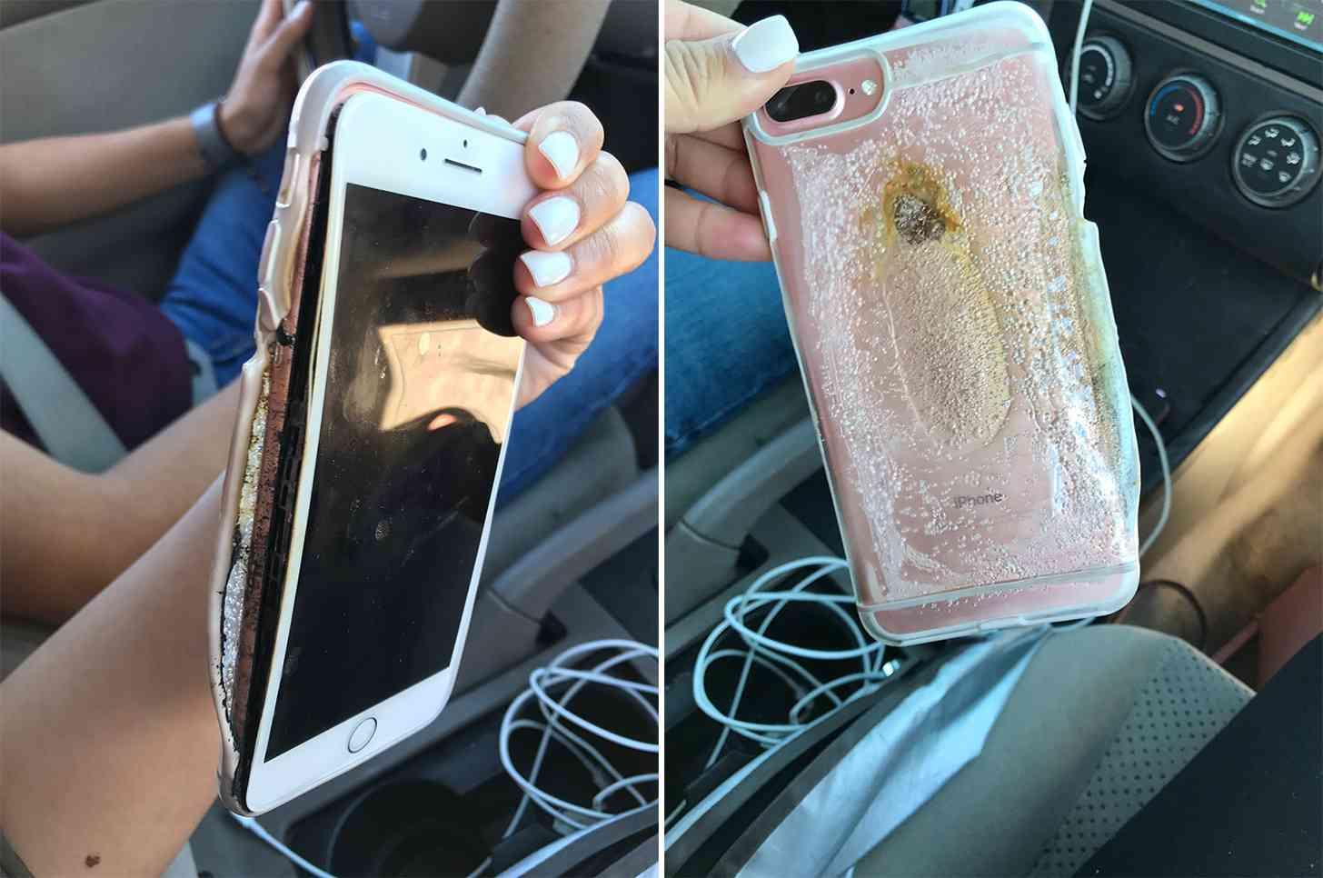 iPhone 7 Plus smoking, melted case
