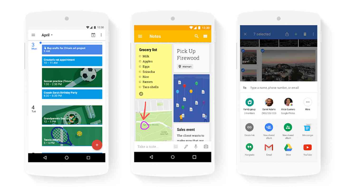 Google family sharing Calendar, Keep, Photos