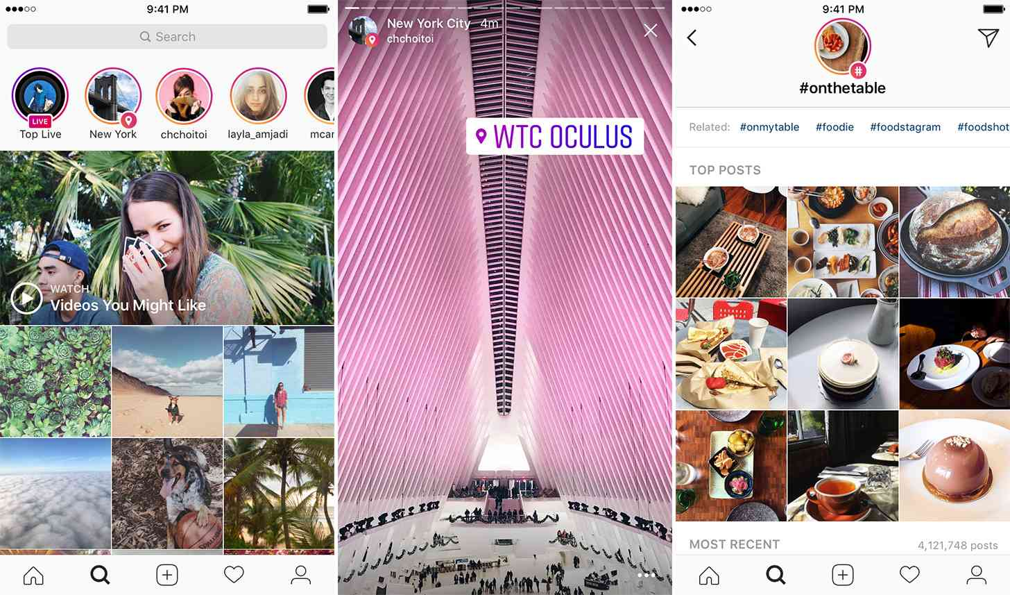 Instagram location hashtag Stories