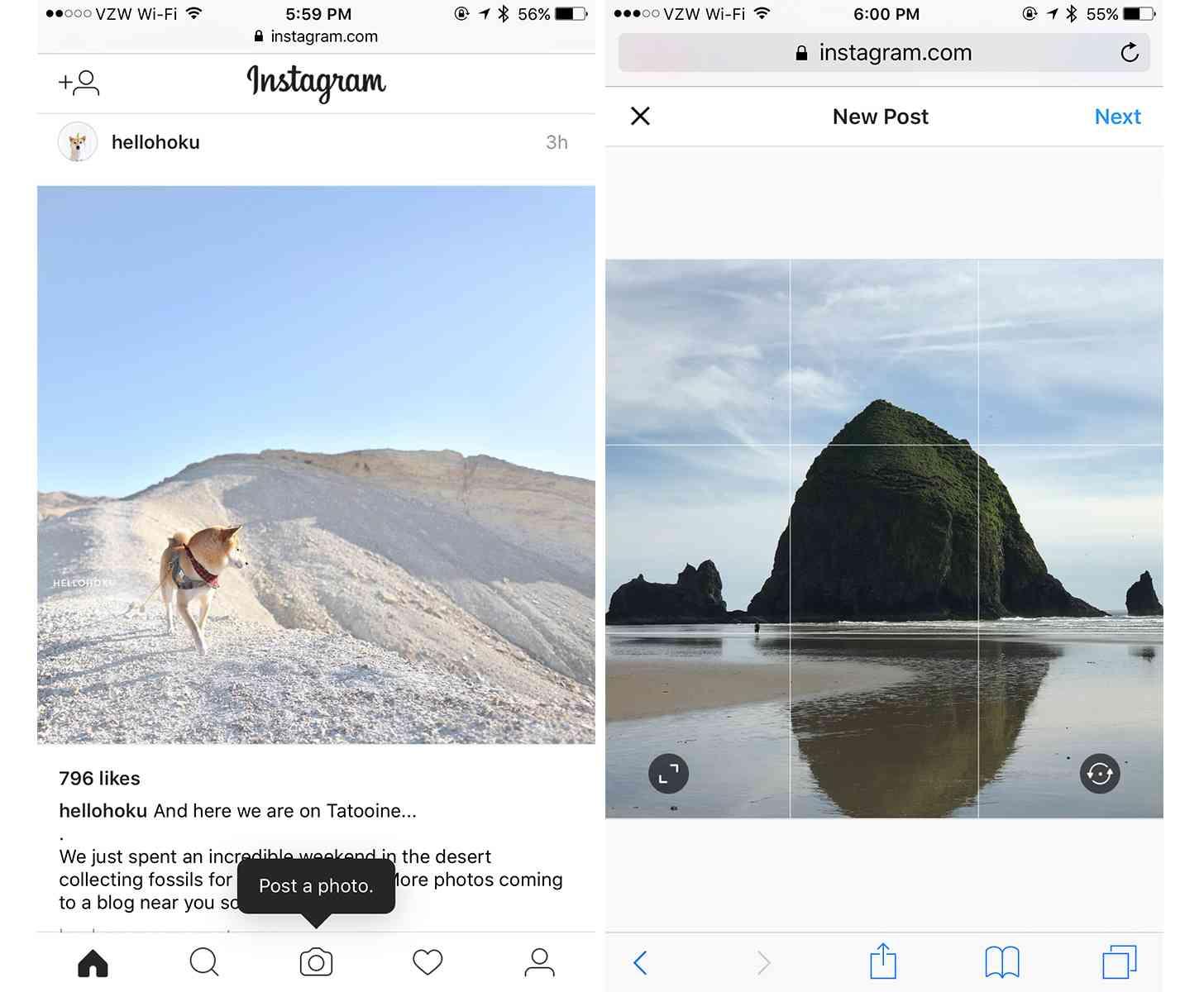 Instagram photo uploads mobile web