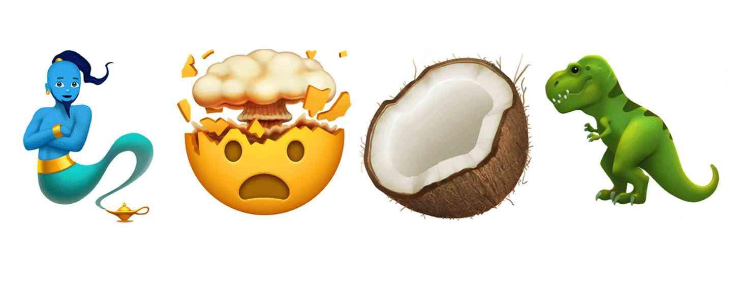 Apple new emoji preview genie, blown mind, coconut, t-rex
