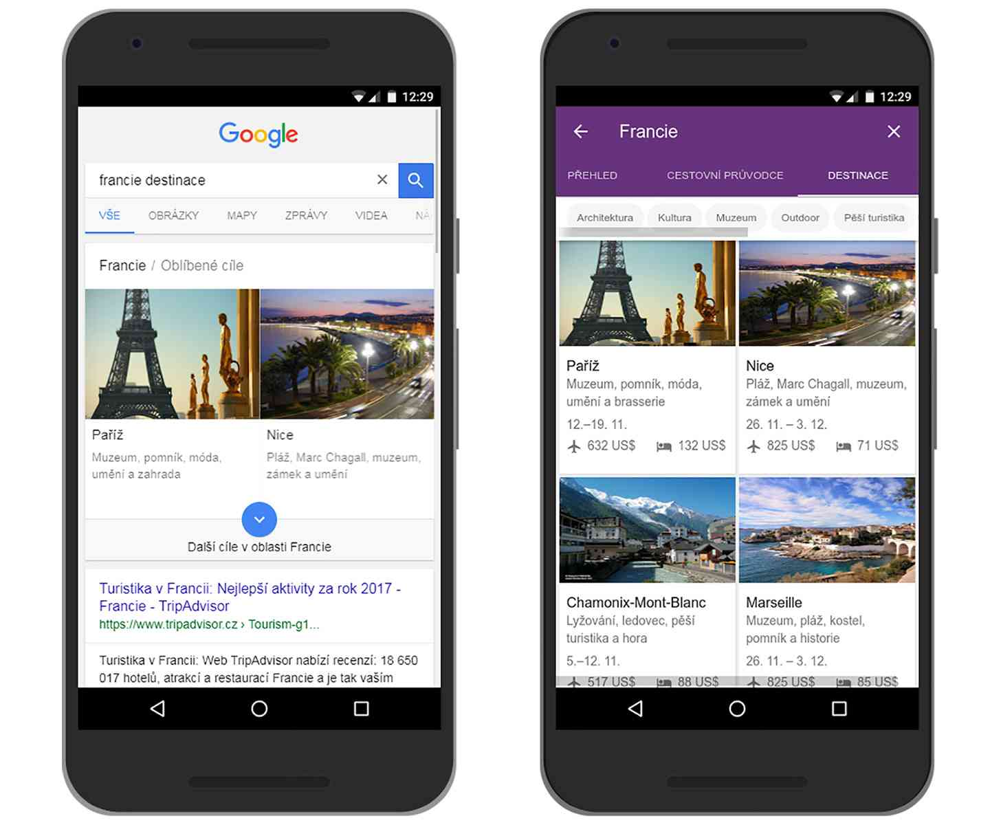 Google Destinations new languages