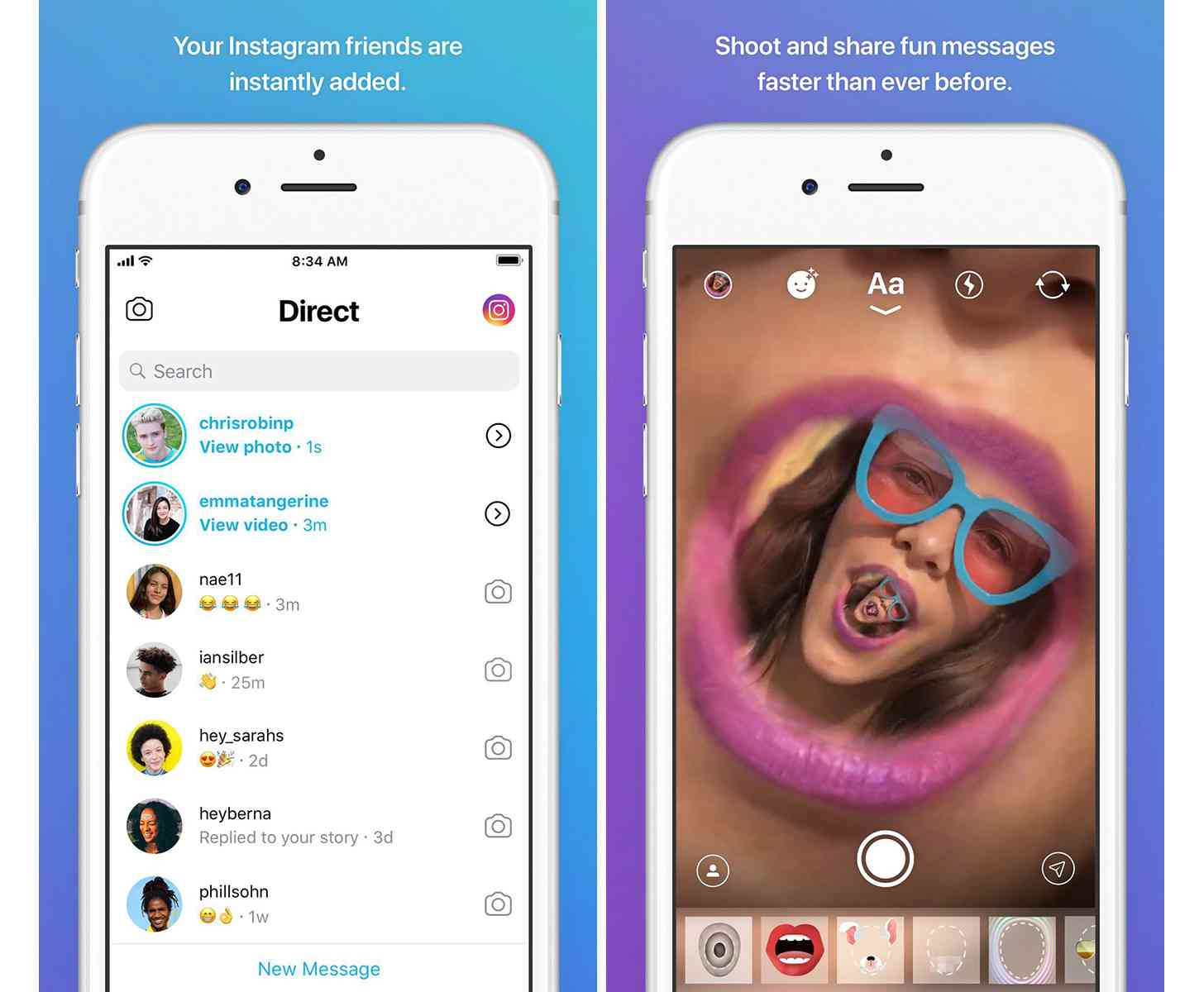 Instagram standalone Direct app screenshots
