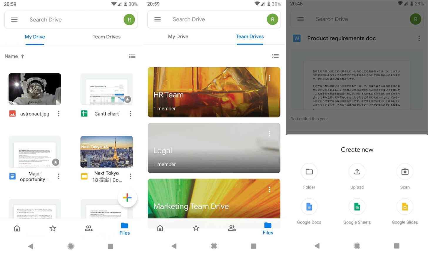 Google Drive Material redesign screenshots