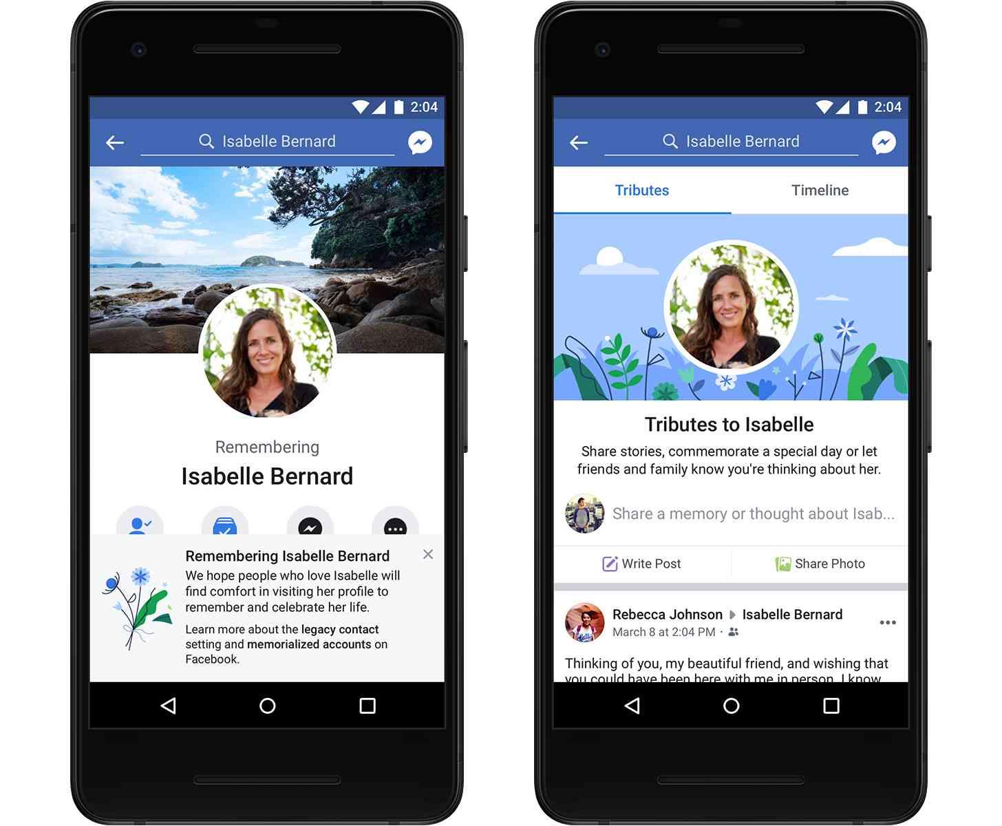 Facebook Tributes memorialized profiles