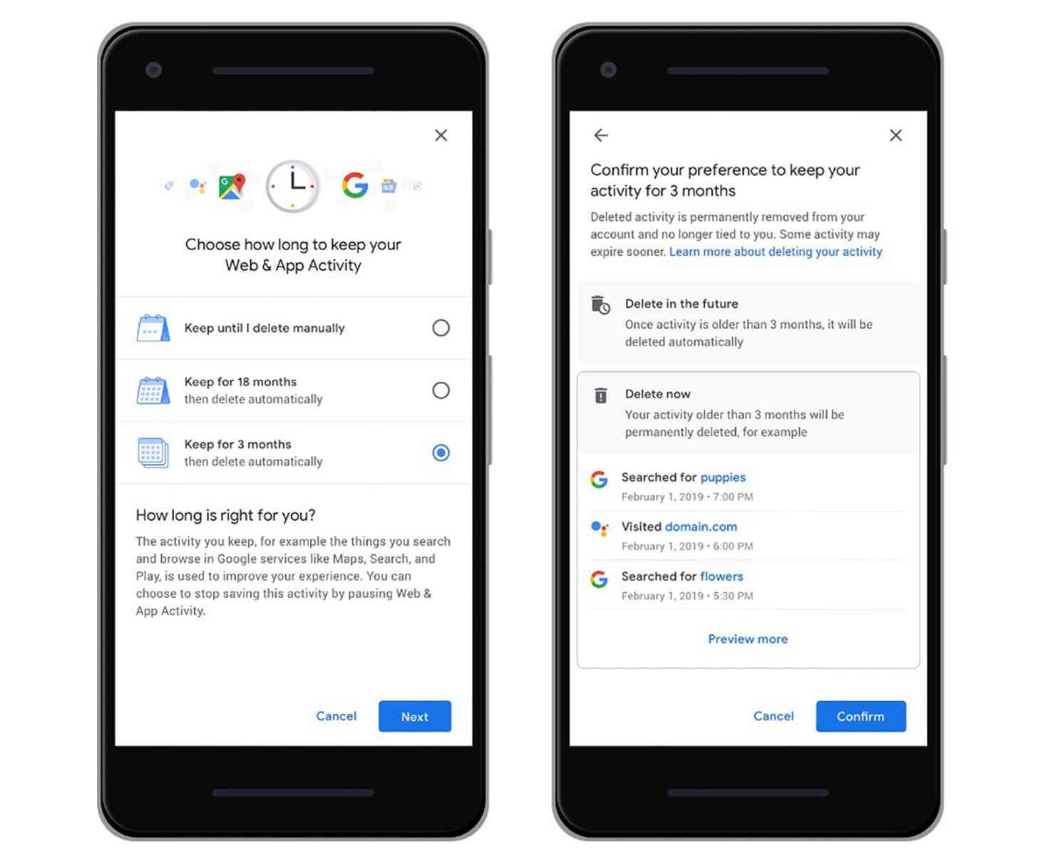 Google auto-delete location history, activity data