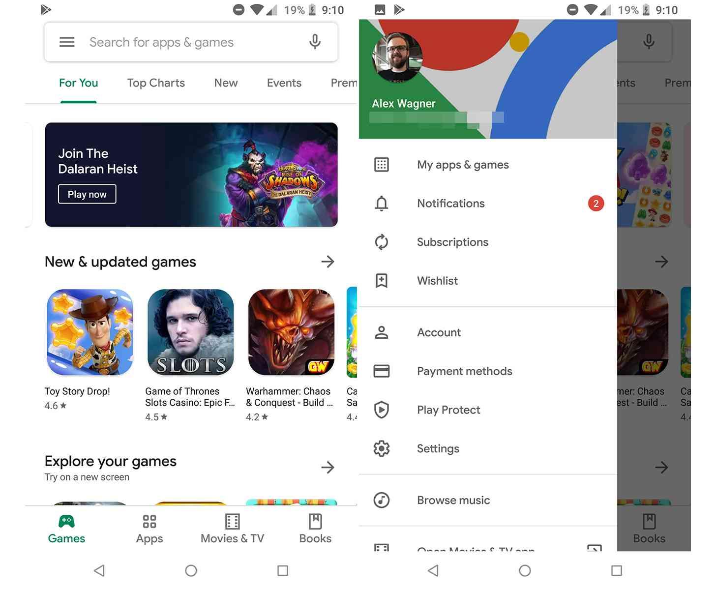Google Play Store Material bottom bar