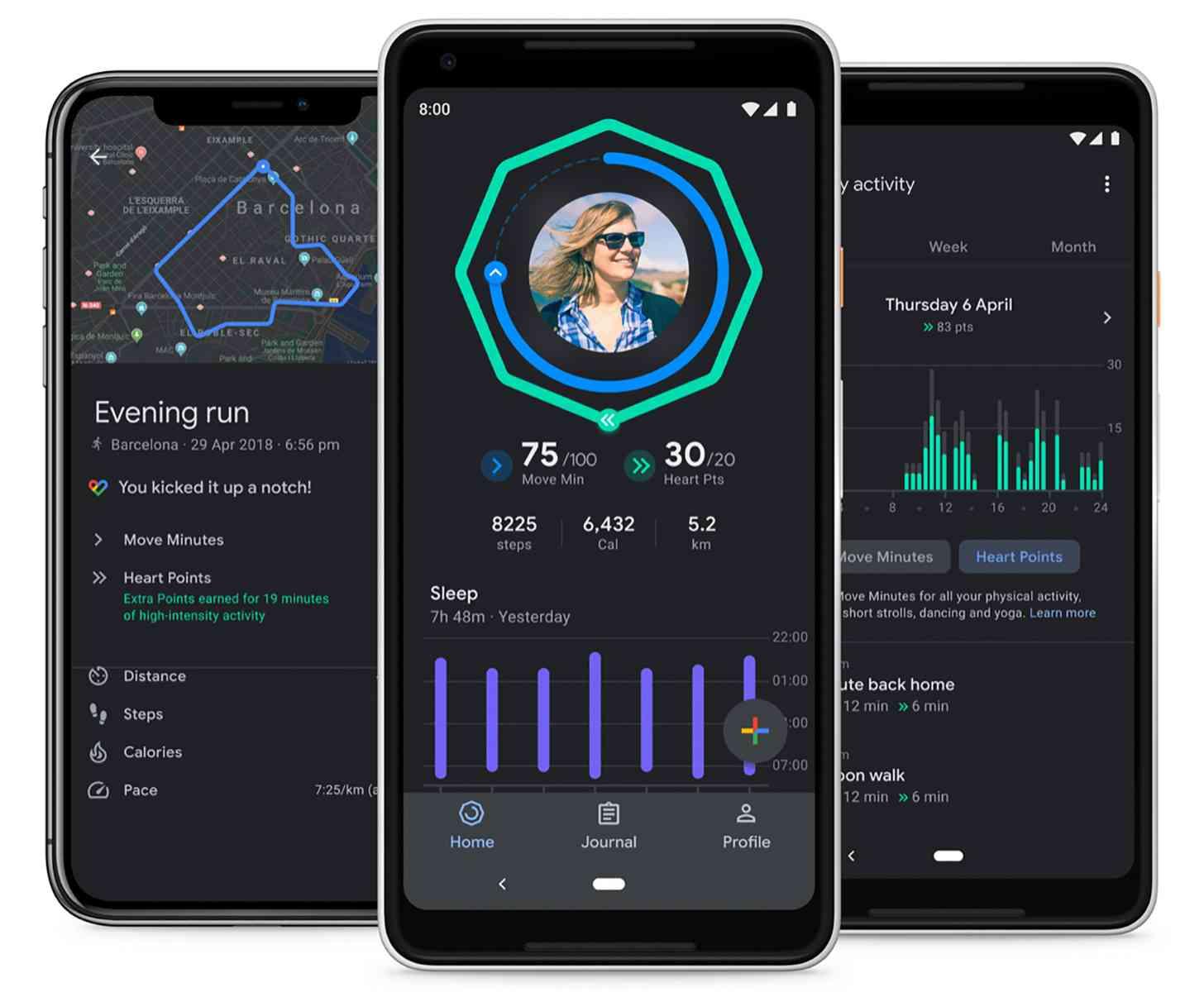 Google Fit dark theme, sleep patterns