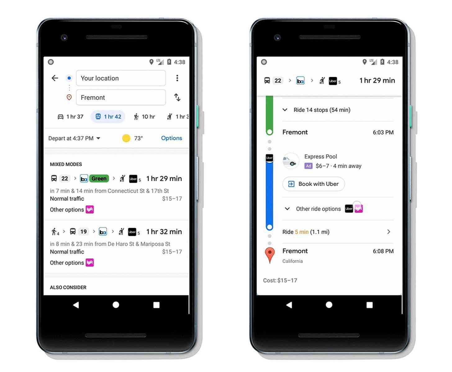 Google Maps transit ridesharing directions