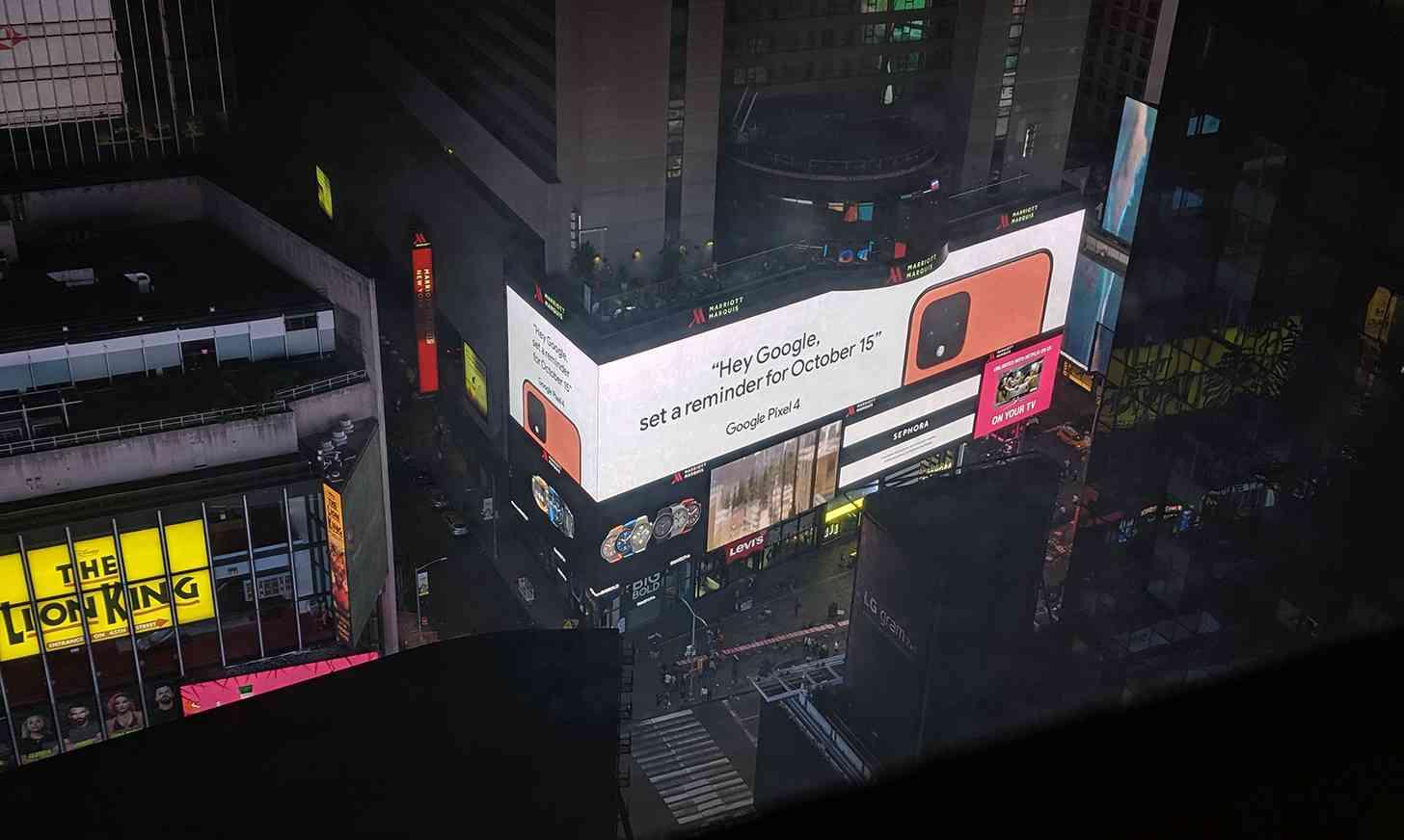 Orange Pixel 4 ad Times Square