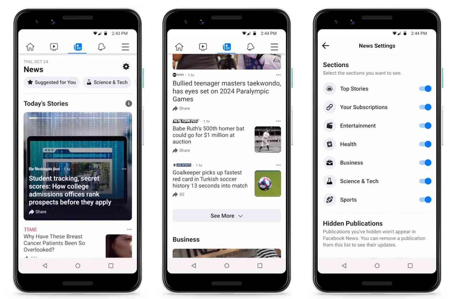 Facebook News app tab