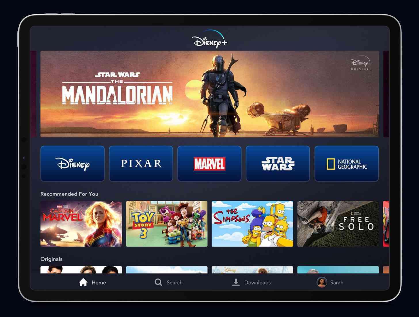 Disney+ on an iPad Pro