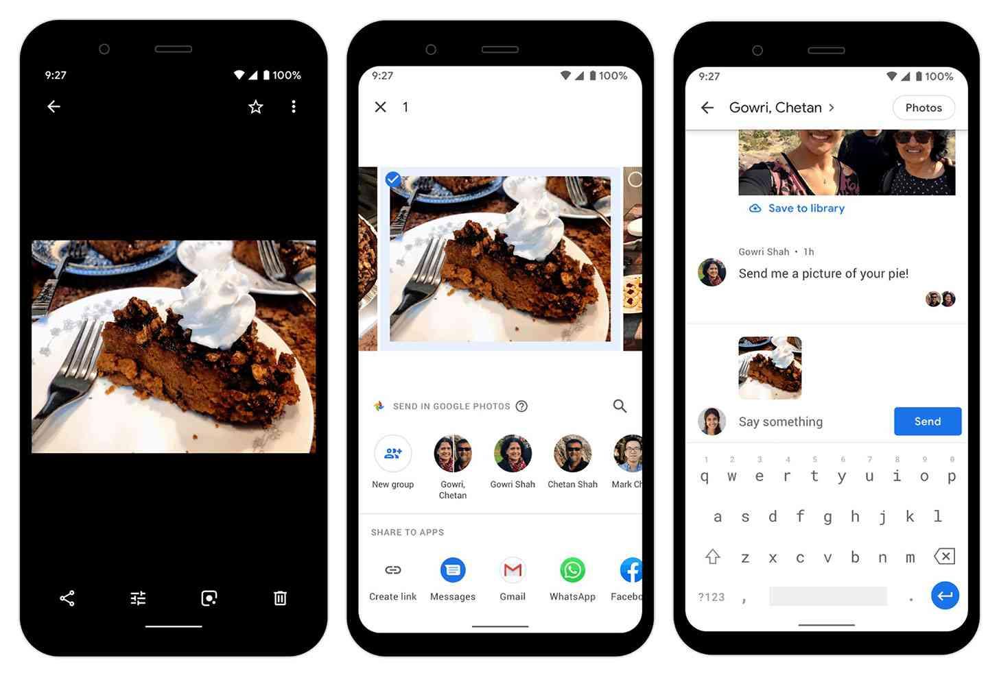 Google Photos messaging