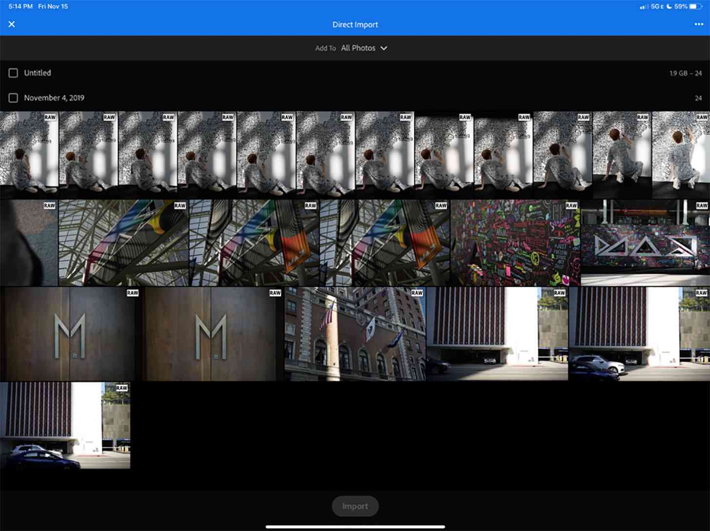 Adobe Lightroom iOS iPadOS direct import