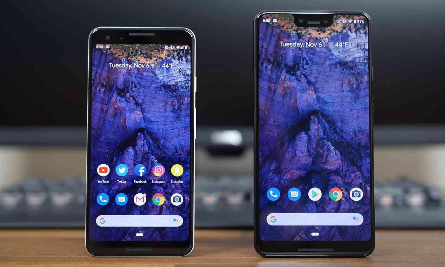 Pixel 3, Pixel 3 XL comparison