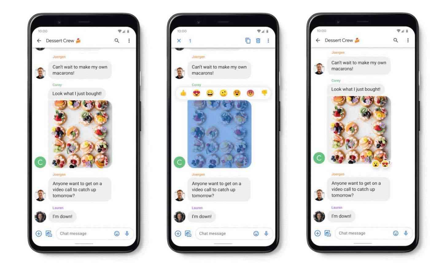 Google Messages iMessage reactions