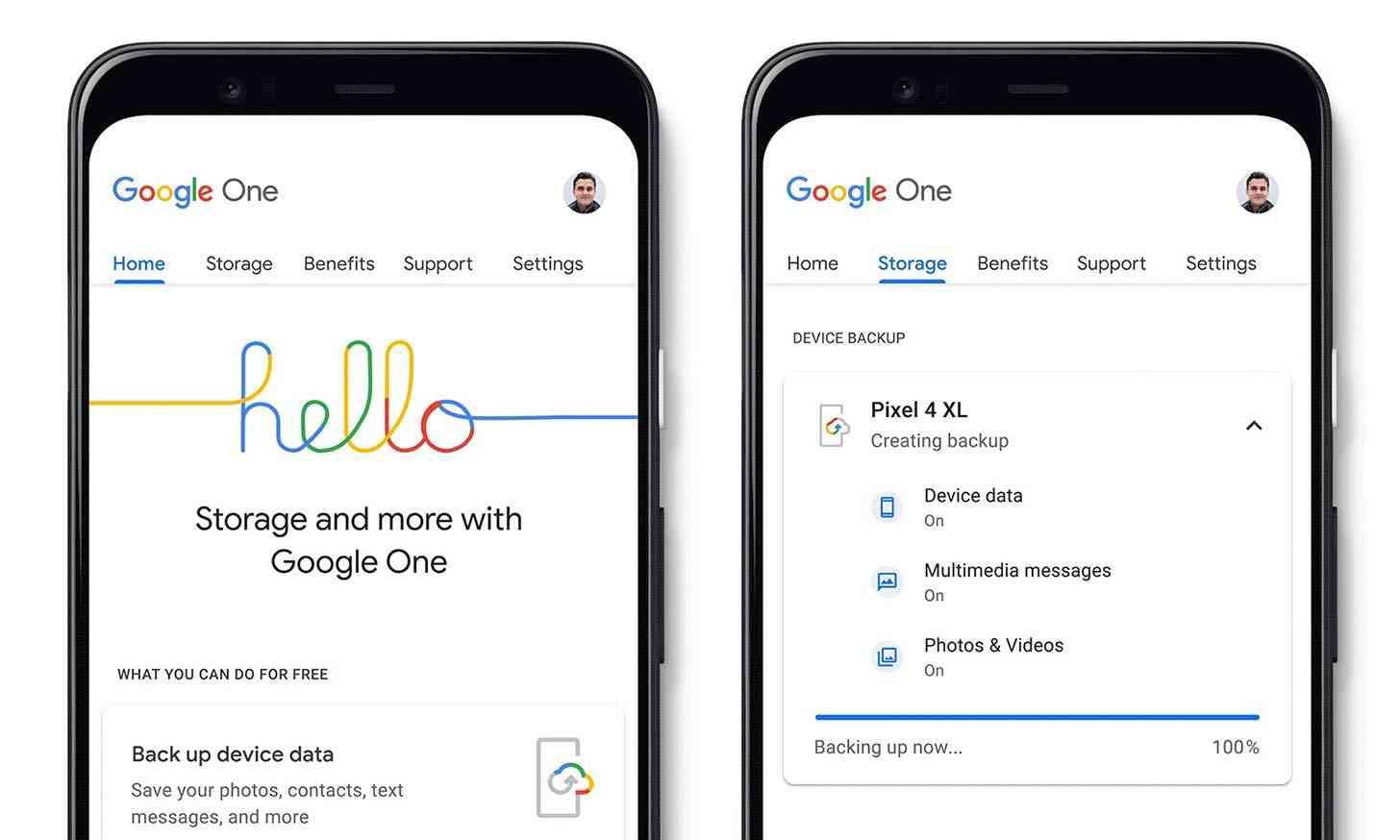 Google One free phone backup