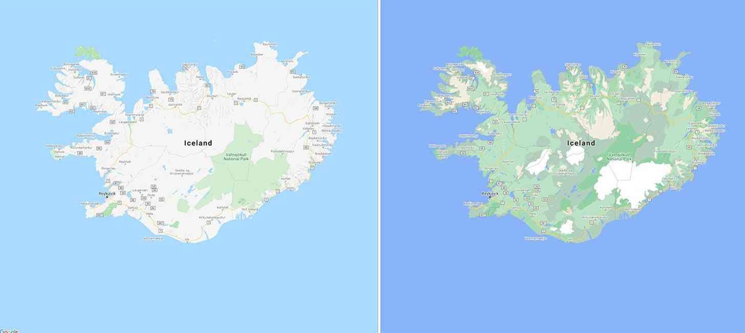 Google Maps Iceland detailed