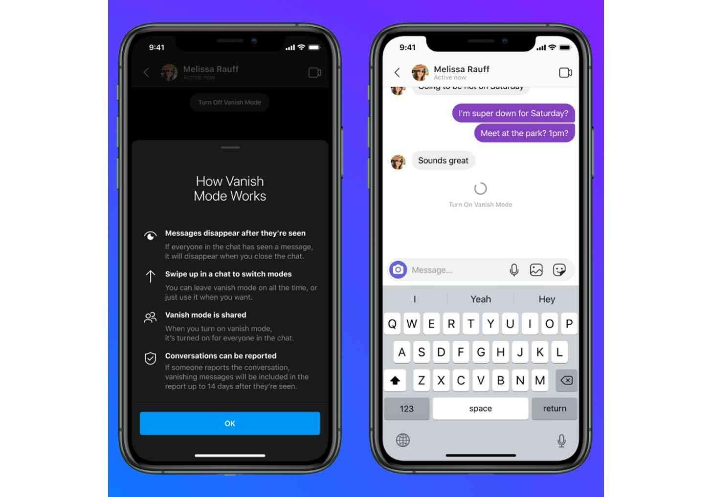 Facebook Messenger Vanish Mode features