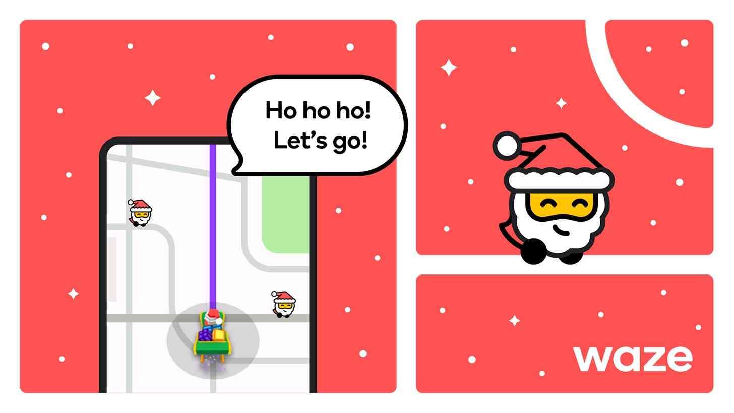 Waze holiday mode Santa