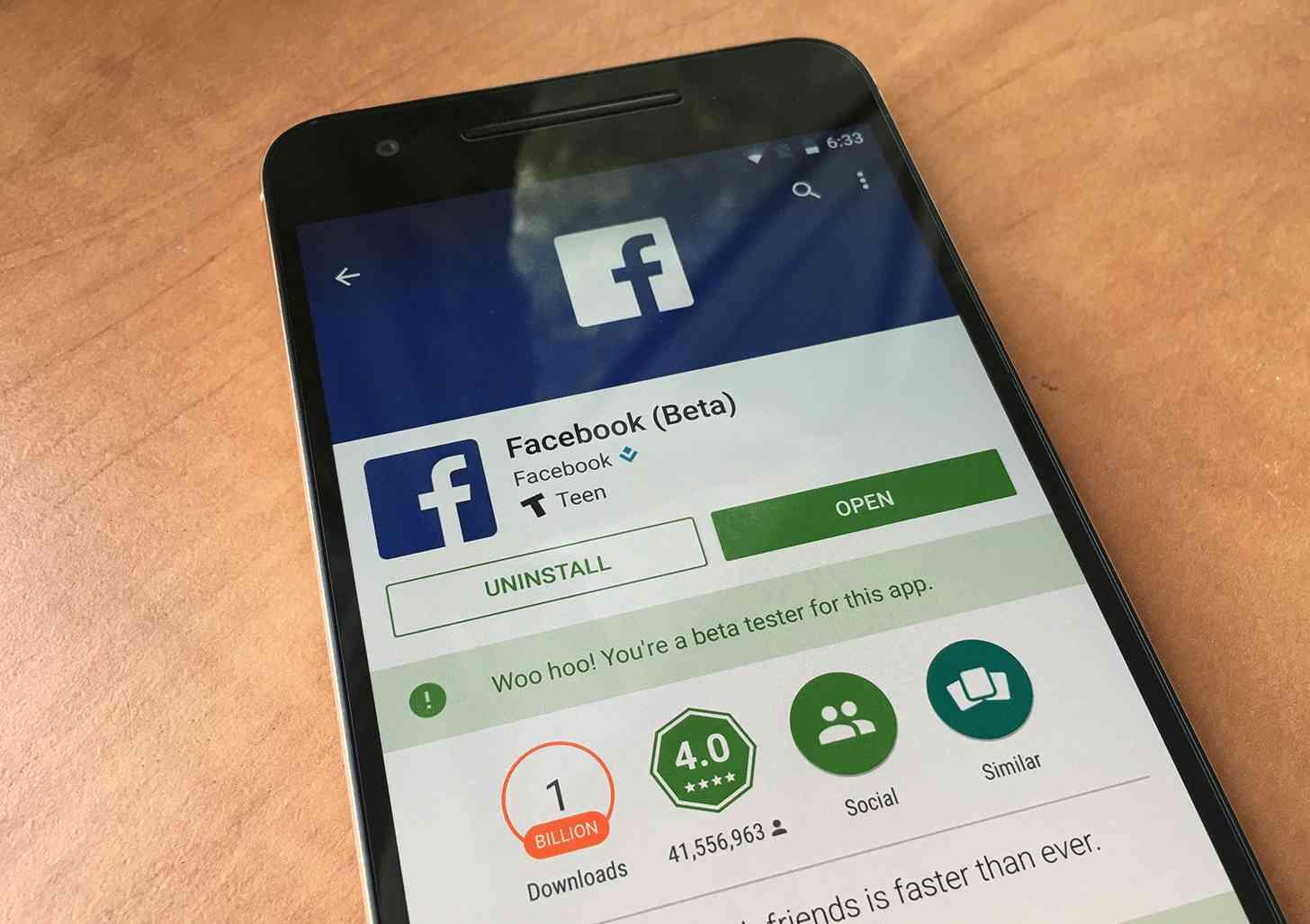 Facebook beta app Google Play Store update