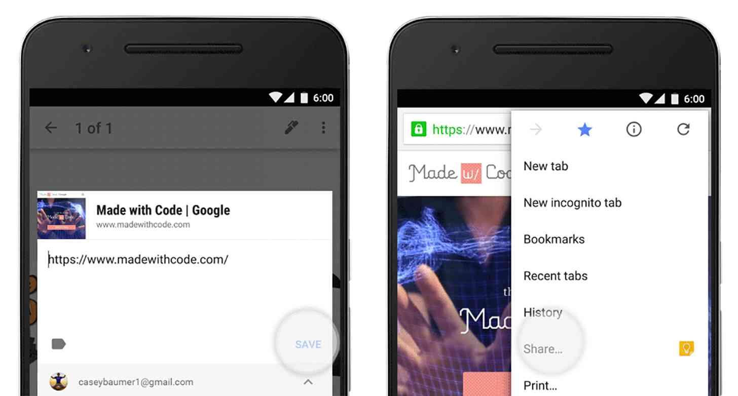 Google Keep Share Via menu