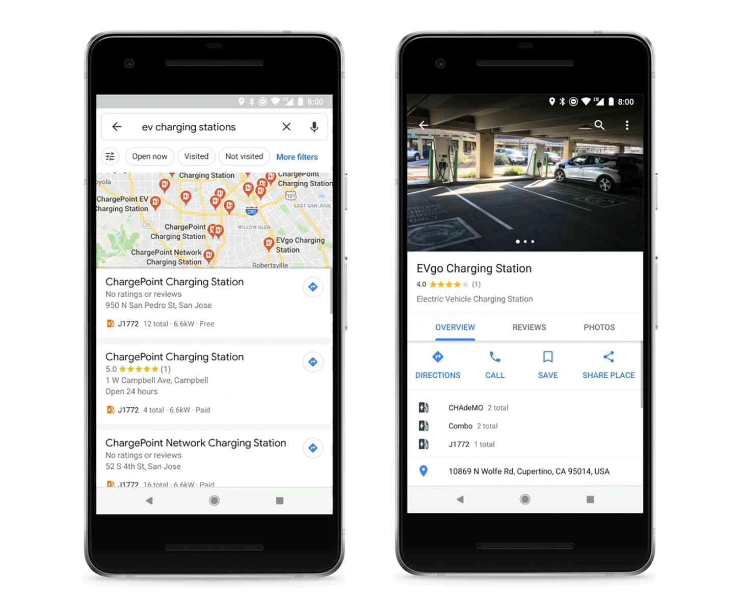 Google Maps EV charging station info