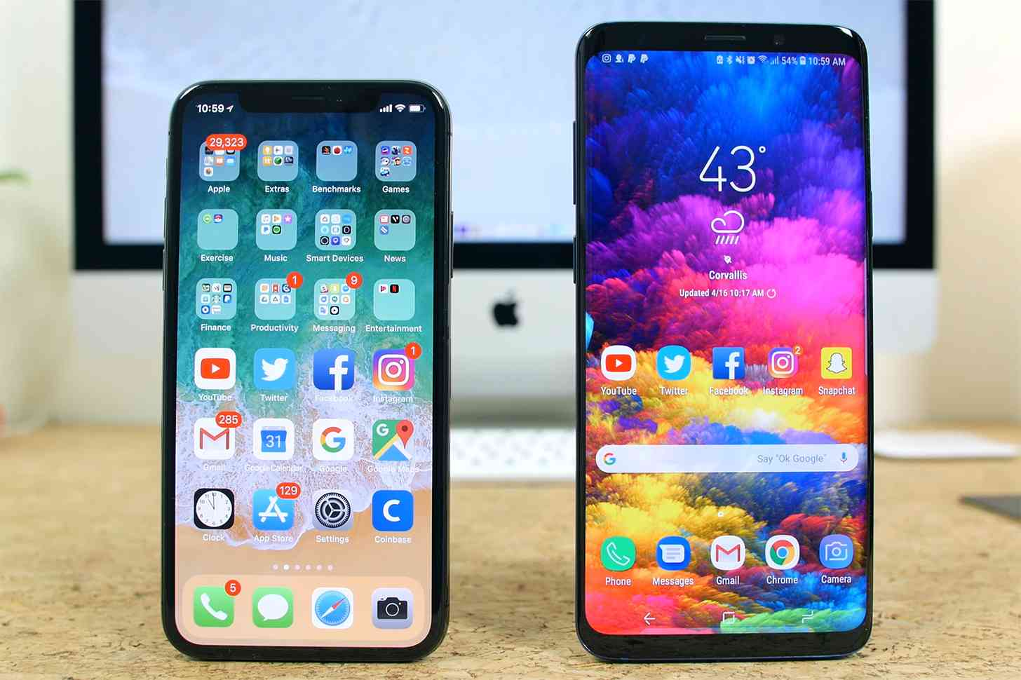 iPhone X, Samsung Galaxy S9 comparison
