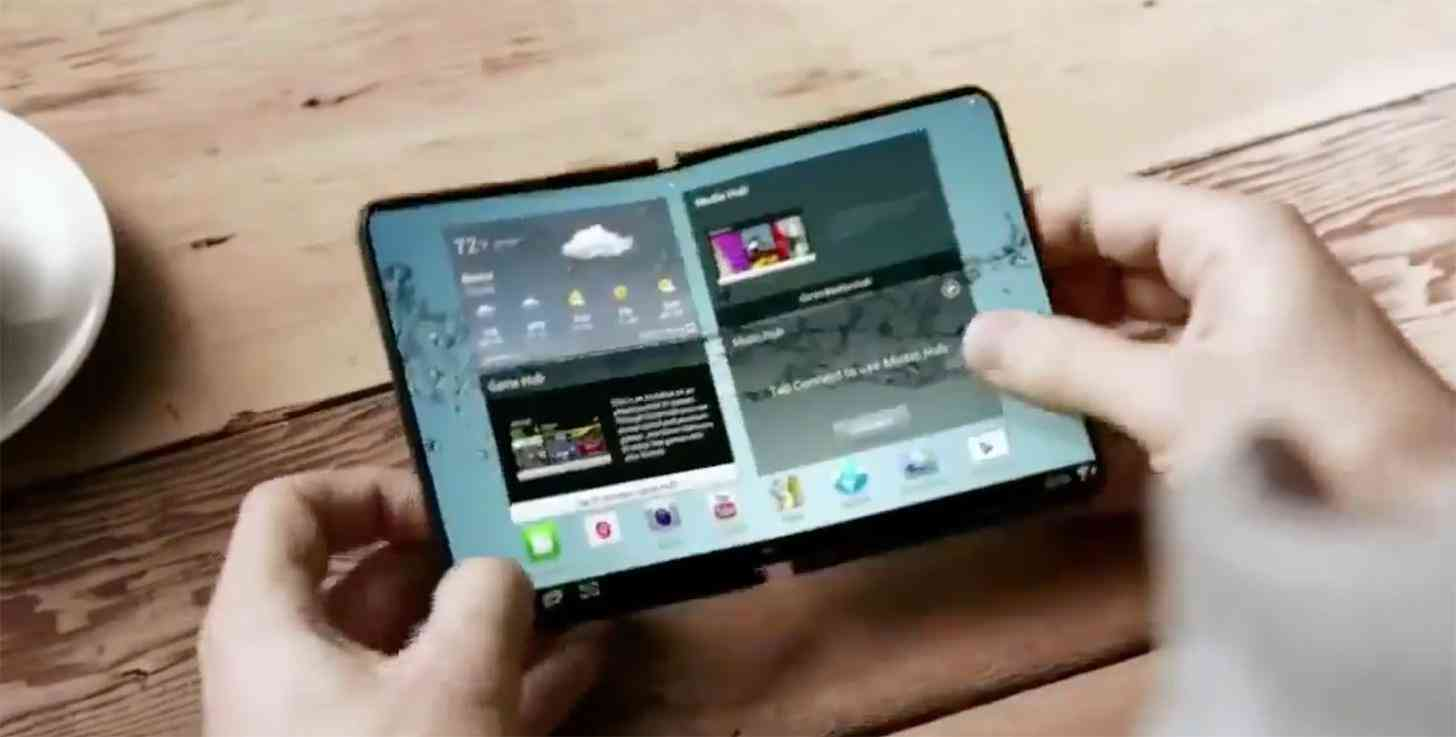 Samsung foldable smartphone concept open