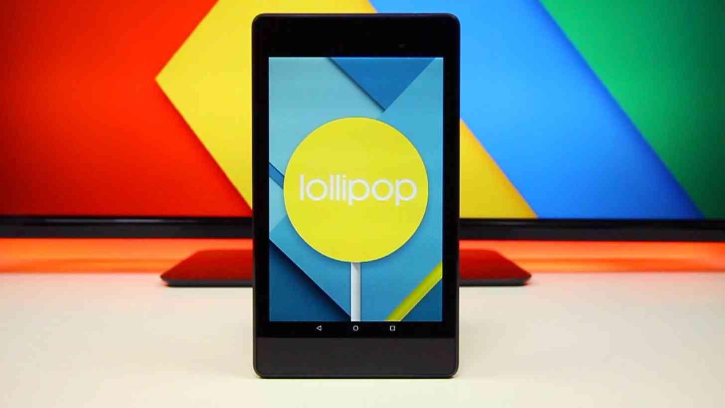 The Nexus 7 running Android 5.0 Lollipop.