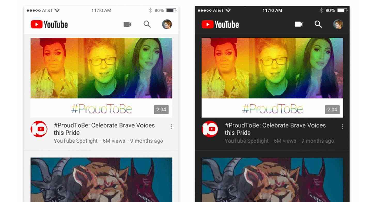 YouTube app dark theme iPhone official
