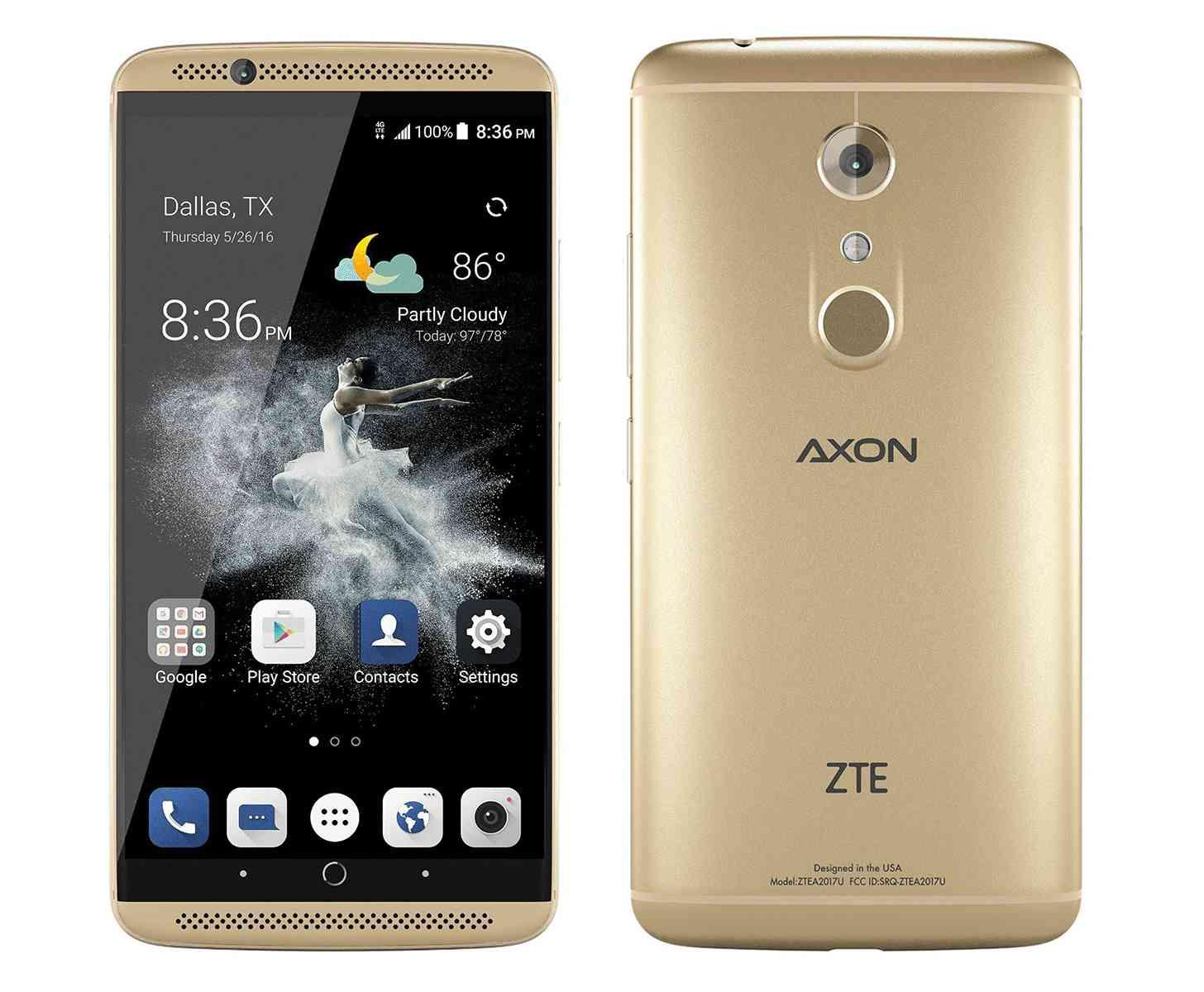 ZTE Axon 7 gold front back