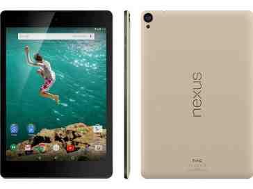 HTC Nexus 9 Sand front, side, rear