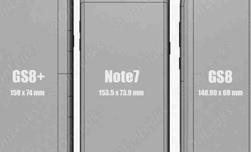 Samsung Galaxy S8 size comparison leak