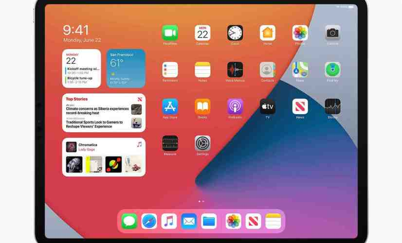 iPadOS 14 widgets on iPad Pro